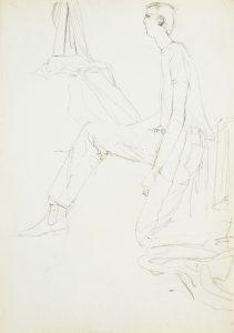 Jon Faeirs (Kneeling Profile, With Draped Fabrics), 1970-80's