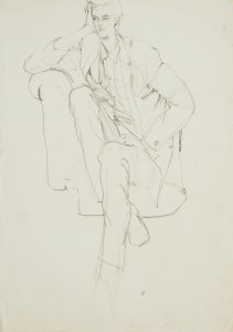 Jon F. (Sitting on Old Chair, One Arm Up), 1970-80's
