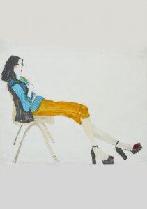Teresa N. (Sitting – Yellow Shorts, Black Shoes), 1970's