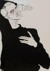 Self Portrait (Half Figure, Head and Hands), 1980's