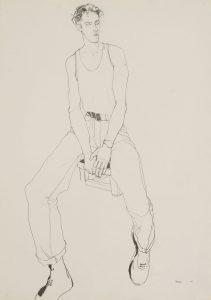 Mick H. (White Vest – Sitting on Stool), 1980-82