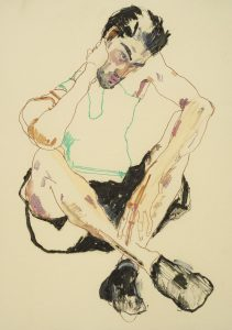 Asad (Sitting, Elbows on Knees – Green), 2015-16