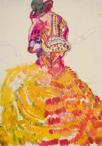 Emma (Seated, Hands in Lap – Dior Couture, Pink & Yellow), 2004