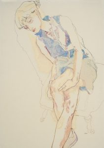 Freya (Sitting, Hands Under Knee – Blue Dress), 2015-16