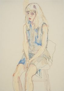Freya (Sitting, Hands Between Legs – Blue Dress), 2015-16