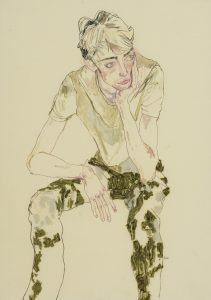 Ben W. (Seated, One Hand Holding Head), 2016-17