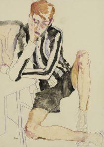 Michele R. (Hand on Face – B&W Stripe – Black Shorts), 2014