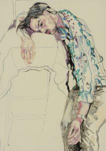 Oscar (Sitting, Lying Head on Chair – Blue Shirt), 2013-18