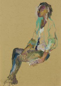 Anji (Sitting, Profile – Green Jacket), 2018