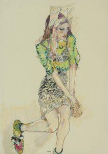 Natasha (Sitting – Hat, Green Top, Black Skirt), 2012