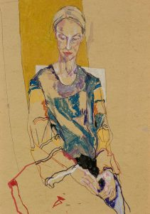 Stina (Sitting – Blue Top, Print Sleeves, Gold), 2015