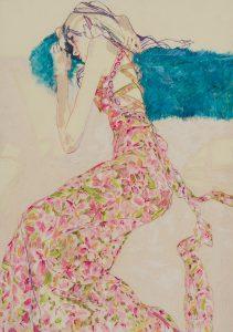 Emile (Lying on Sofa – Print Dress, Blue Feather Boa), 2005-07