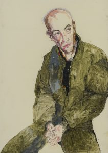 Jonathan (Half Figure, Green/Black Shape), 2016