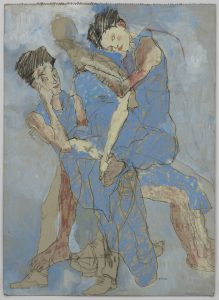 Pamela Atkepte (Three Figures in Blue), 2017-18
