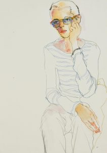 Neil Gilks (Sitting, One Hand to Face – Blue Tint Glasses), 1999